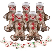 Gingerbread Man Drawstring Bag W/ Mints - 8CT