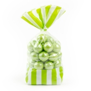 Green Striped Favor Bag - 10CT