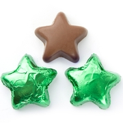Foiled Chocolate Stars - Green