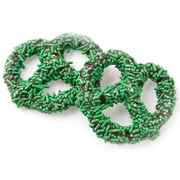 Chocolate Covered Pretzels with Green Sprinkles - 10CT Box