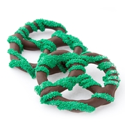 Chocolate Covered Pretzels with Green Nonpareils - 10CT Box