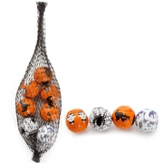 Halloween Foiled Milk Chocolate Balls Mesh Bags- 24 Ct Case