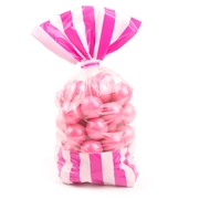 Hot Pink Striped Favor Bag - 10CT