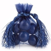 Navy Blue Mesh Favor Bags With Tassels - 12CT
