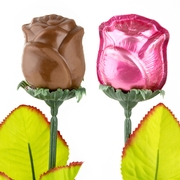 Pink Milk Chocolate Long Stem Roses - 6-Pack