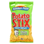 Crispy & Crunchy Onion & Garlic Seasoned fried potato sticks. 0.78 oz each bag