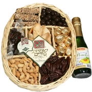 Purim 7-Section Wicker Tray W/Grape Juice