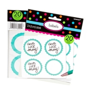 Robin Blue Favor Sticker Labels 20ct