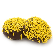 Yellow Sprinkles Dark Chocolate Coated Sandwich Cookies