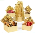 Holiday 4-Tier Gold Gift Tower