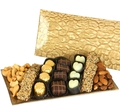 Kosher Nuts & Chocolate Gold Glass Gift