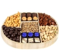 Hanukkah 7-Section Nuts & Chocolate Wooden Tray