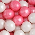 Bright Pink & White Shimmer Pearl Gumballs