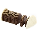 Hand-Crafted Golden Decorative Coffee Chocolate Log