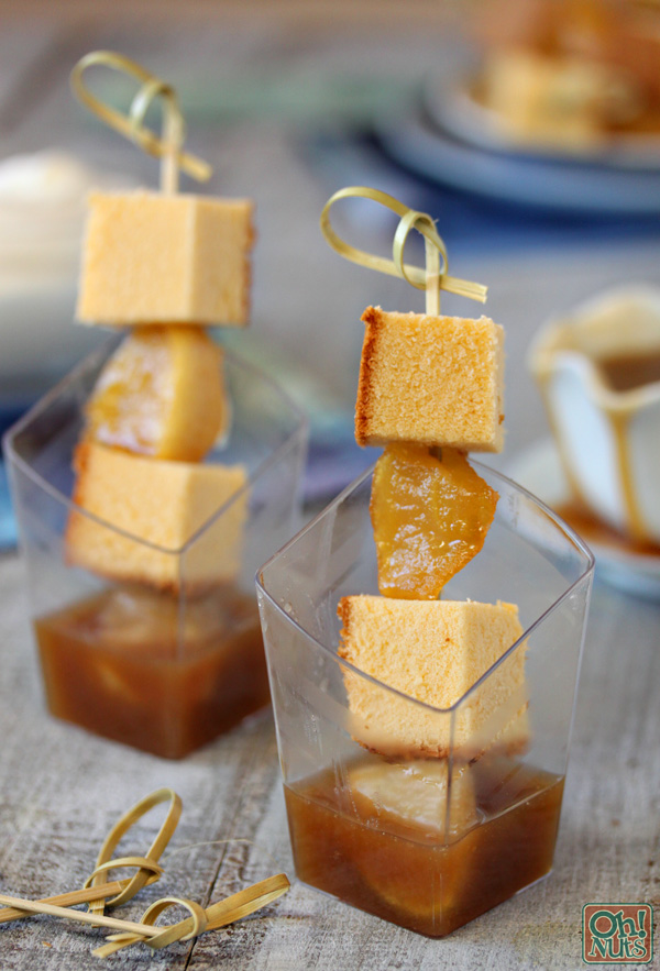 Honey Cake Skewers with Honey Caramel Sauce for Rosh Hashanah