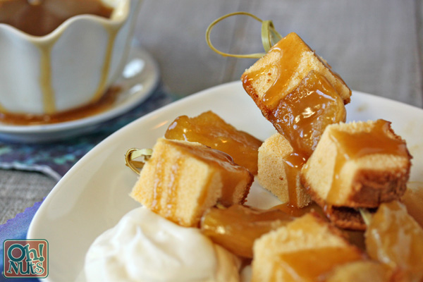 Honey Cake Skewers with Honey Caramel Sauce for Rosh Hashanah  - OhNuts.com