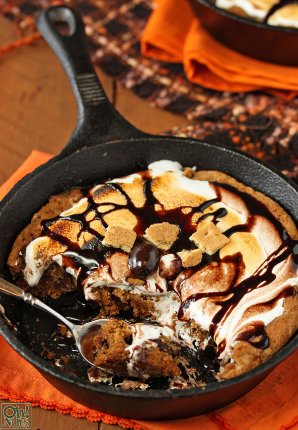 Giant Rocky Road S'mores Cookie Baked in a Skillet