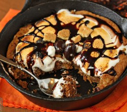 Giant Rocky Road Smores Cookie Baked in a Skillet