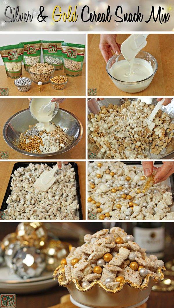 Step by Step Silver and Gold Cereal Snack Mix