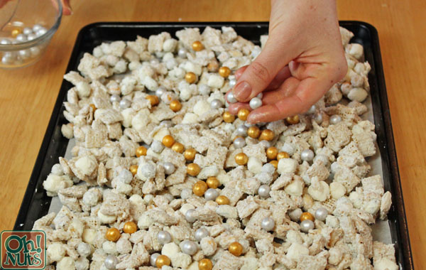 party food idea silver and gold cereal snack mix oh