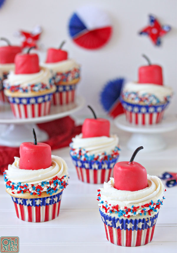 Firecracker Cupcakes For The Fourth Of July Oh Nuts Blog