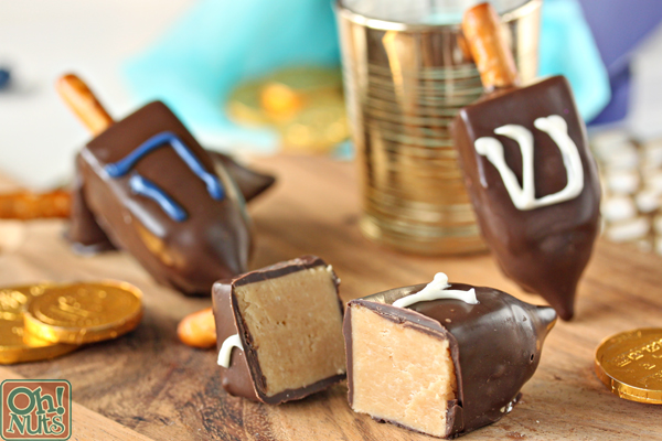 Peanut Butter Fudge Dreidels Recipe | From OhNuts.com