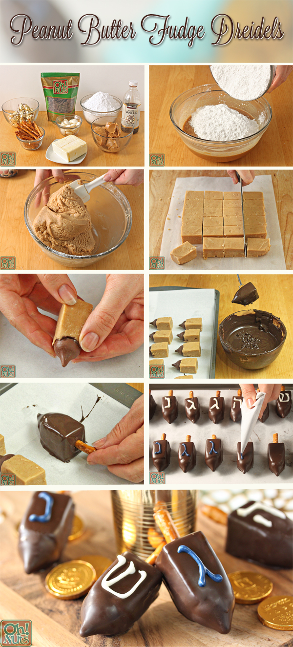 How to Make Peanut Butter Fudge Dreidels | From OhNuts.com