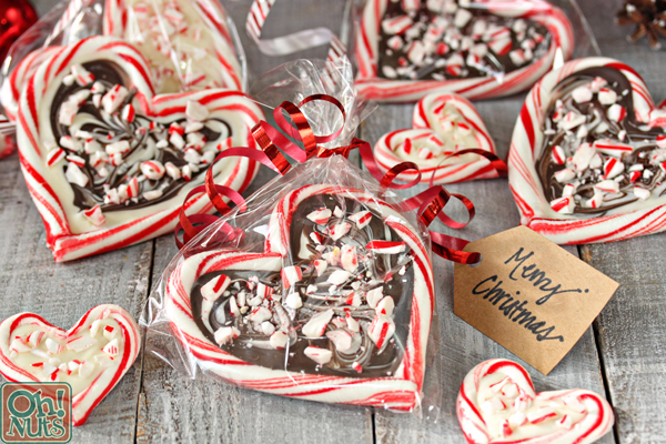peppermint bark candy cane hearts from ohnutscom - Christmas Candy Canes