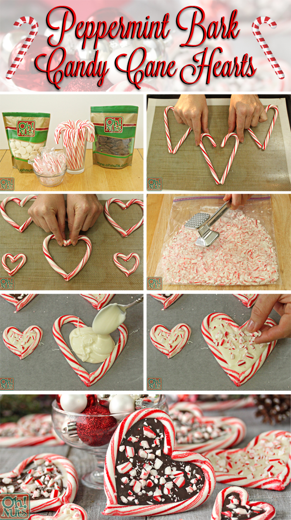 How to Make Peppermint Bark Candy Cane Hearts | From OhNuts.com