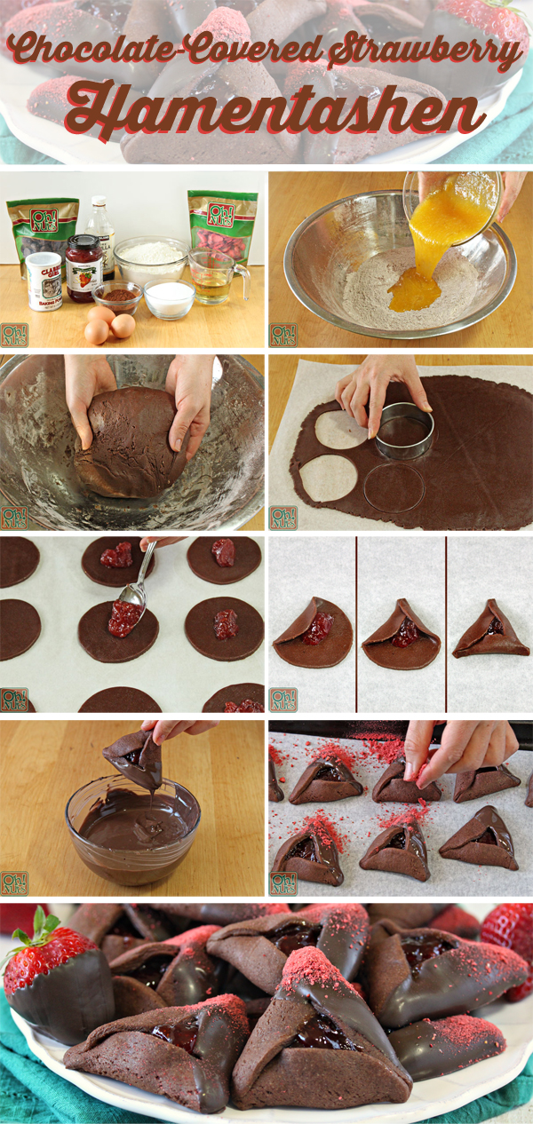 How to Make Chocolate-Covered Strawberry Hamentashen | From OhNuts.com