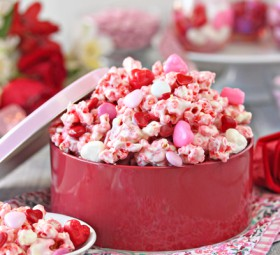 Perfectly Pink Valentine's Day Popcorn