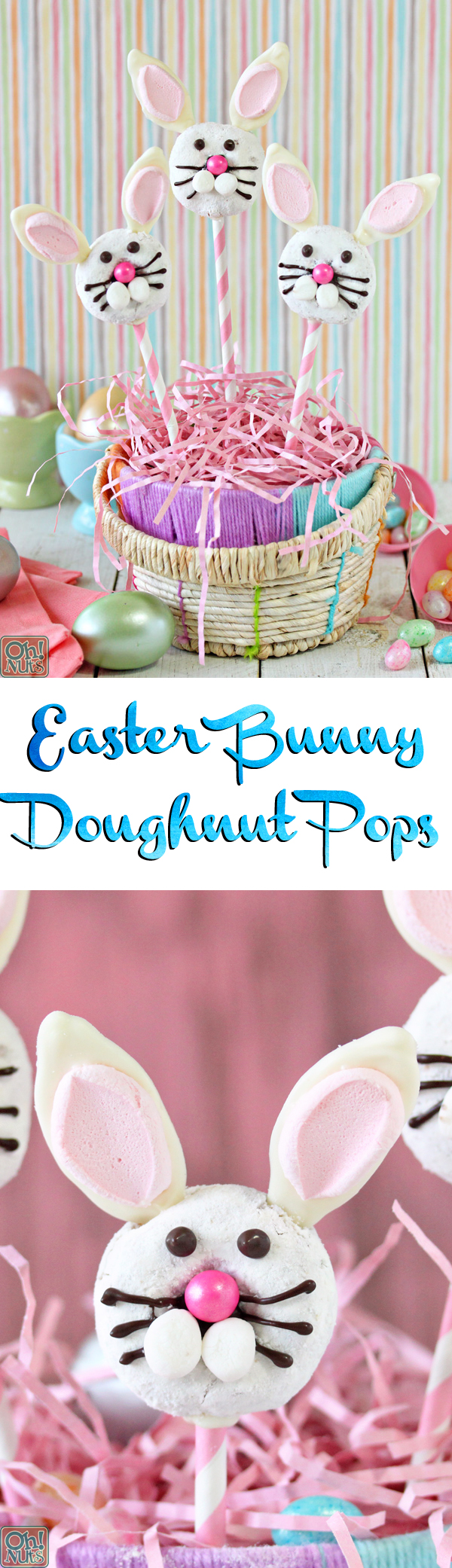 Easter Bunny Doughnut Pops | From OhNuts.com