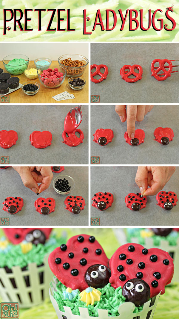 How to Make Pretzel Ladybugs | From OhNuts.com