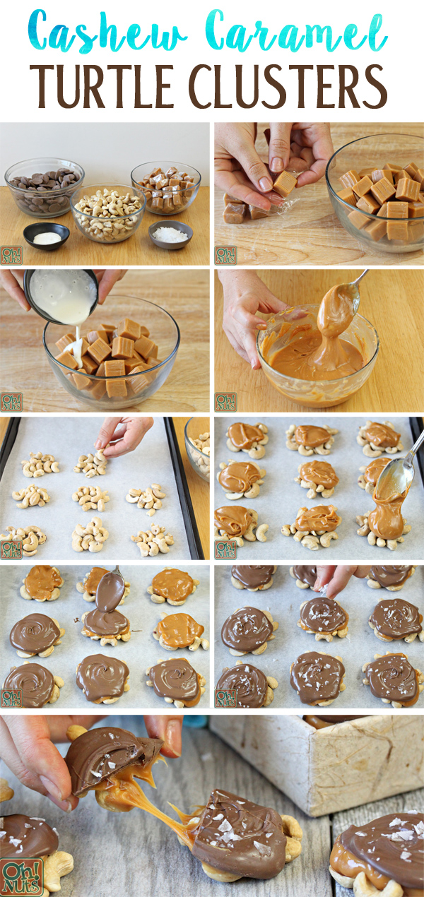 How to Make Cashew Caramel Turtle Clusters | From OhNuts.com