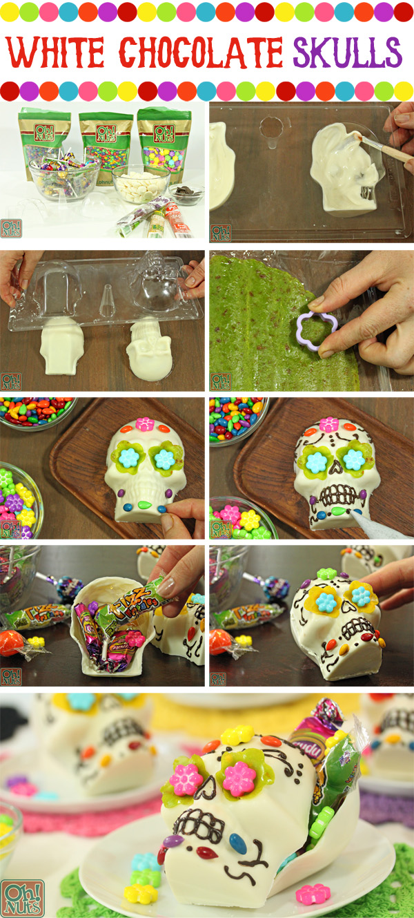 How to Make White Chocolate Skulls for Halloween or Dia de los Muertos | From OhNuts.com