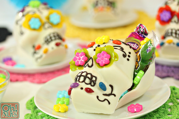 White Chocolate Skulls for Halloween or Dia de los Muertos | From OhNuts.com