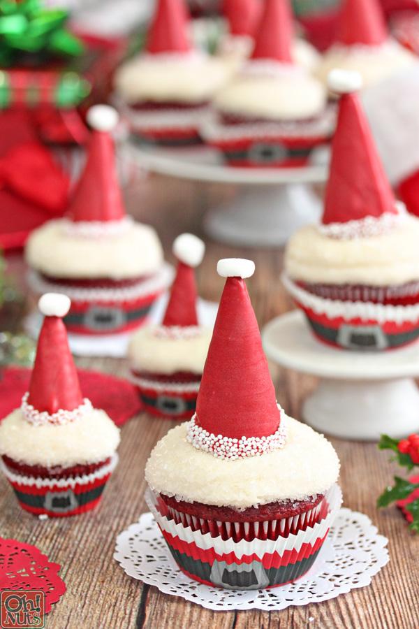 Santa Hat Cupcakes | From OhNuts.com