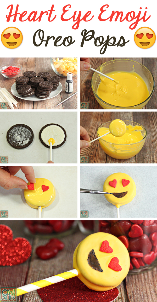 How to Make Heart Eye Emoji Oreo Pops | From OhNuts.com
