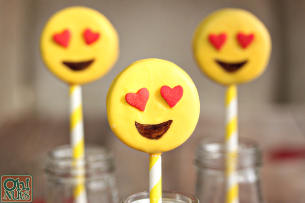 Heart Eye Emoji Oreo Pops | From OhNuts.com