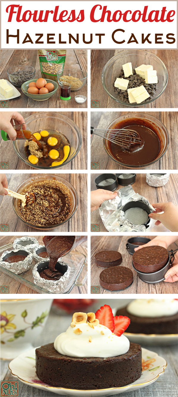 How to Make Flourless Chocolate Hazelnut Cakes | From OhNuts.com