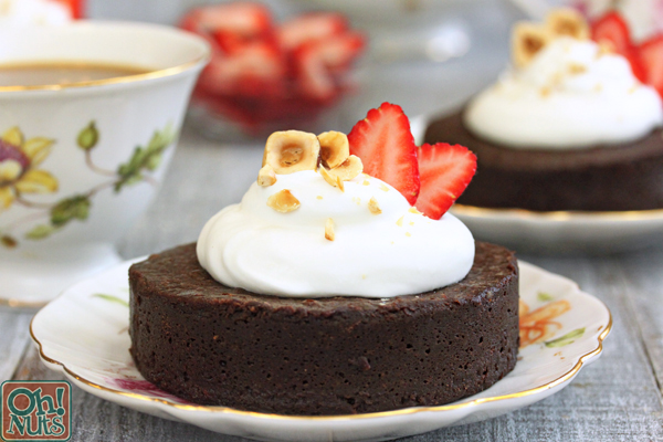 Flourless Chocolate Hazelnut Cakes | From OhNuts.com