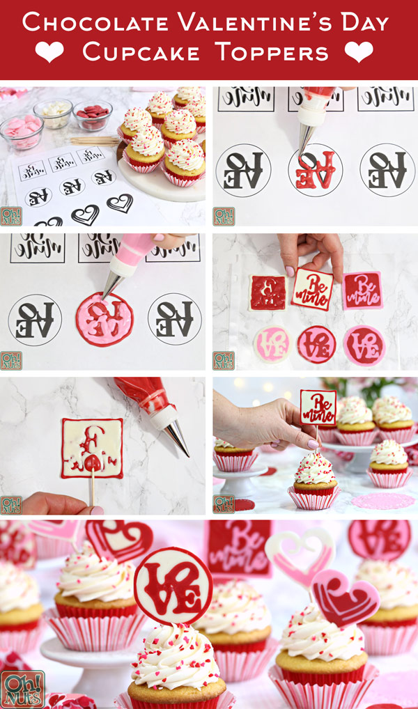 How to Make Chocolate Valentine's Day Cupcake Toppers - cute and easy edible decorations for Valentine's Day Cupcakes! | From OhNuts.com