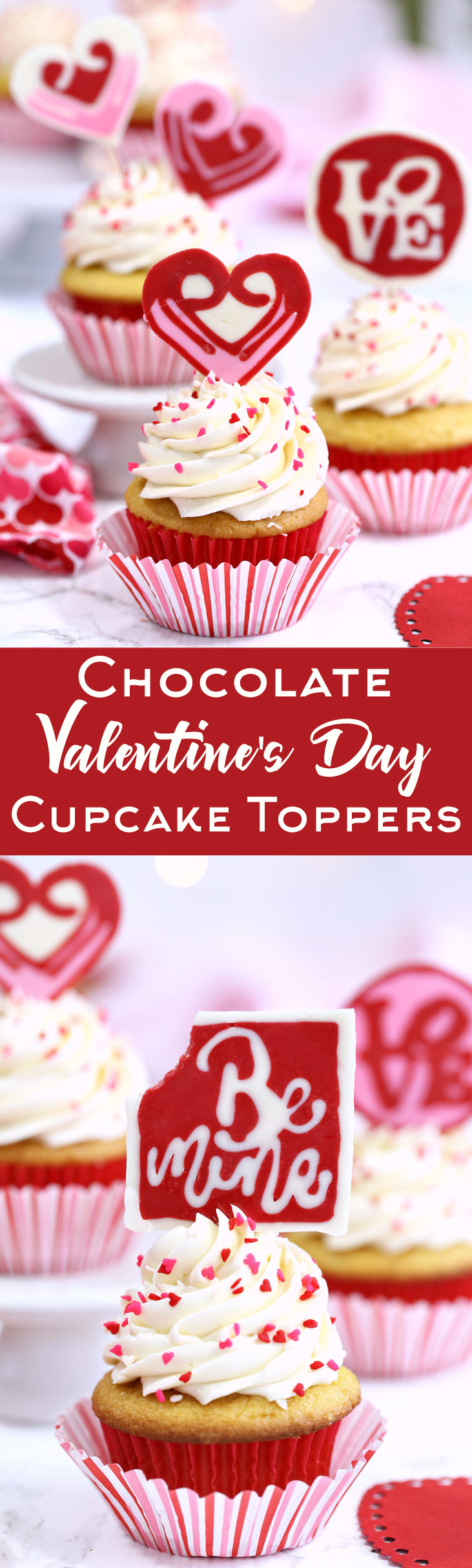 Chocolate Valentine's Day Cupcake Toppers - cute and easy edible decorations for Valentine's Day Cupcakes! | From OhNuts.com