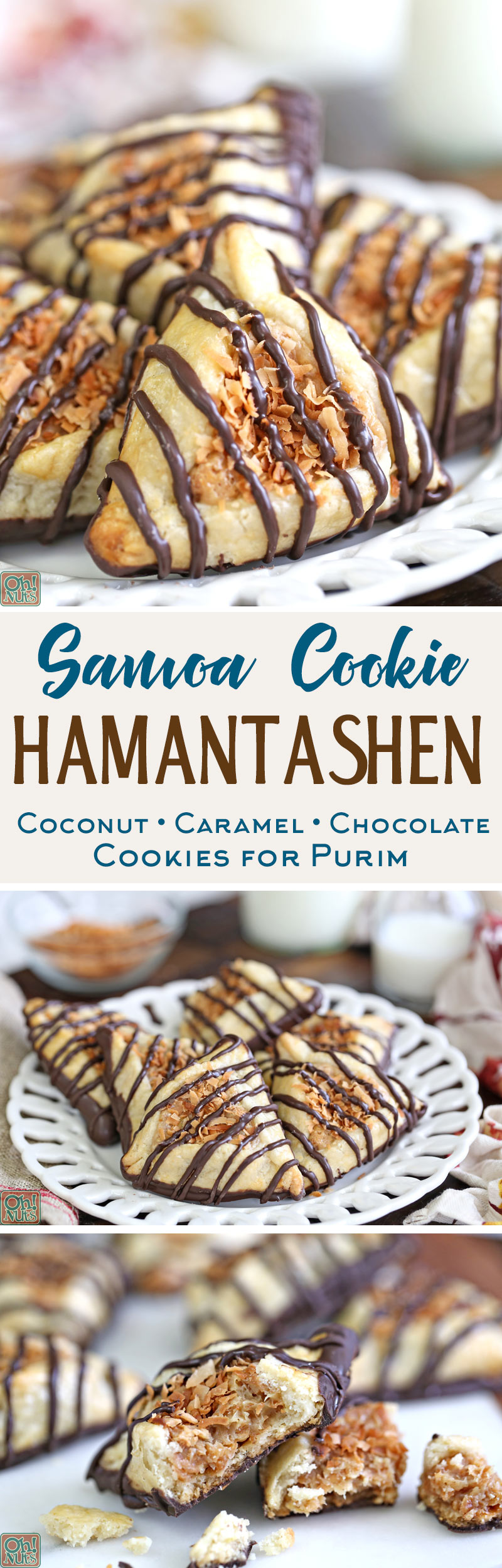 Samoa Cookie Hamantashen - Purim cookies with caramel, toasted coconut, and chocolate | From OhNuts.com